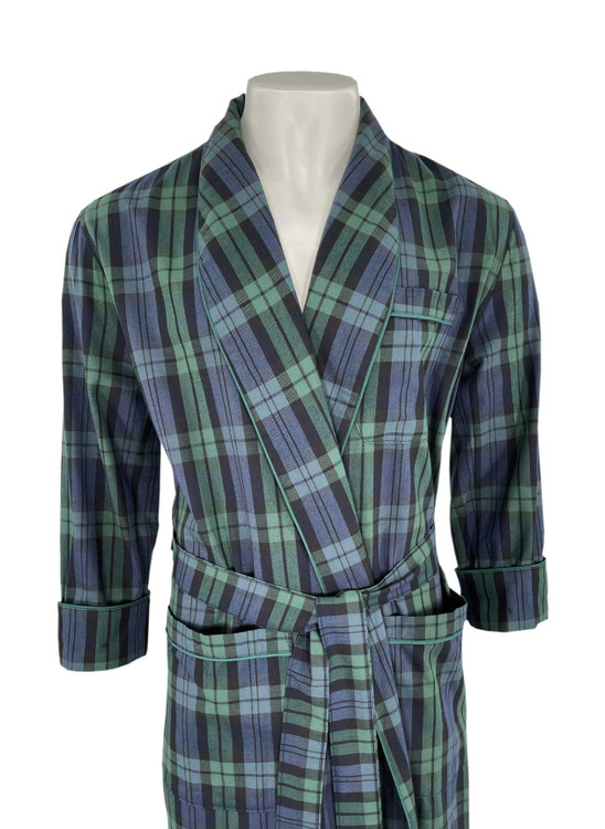 Gentleman's Genuine Cotton and Wool Blend Robe in Black Watch Tartan by Viyella
