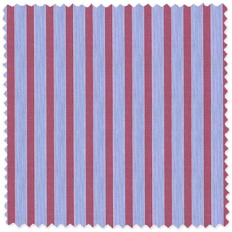 Blue and Red Striped 'Royal 120's' Cotton Broadcloth Custom Dress Shirt by Skip Gambert