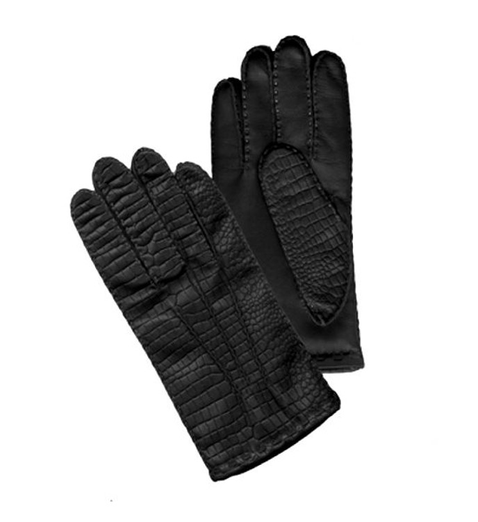 'Brock' Croc Embossed Lambskin Glove with Cashmere Lining by Hilts-Willard