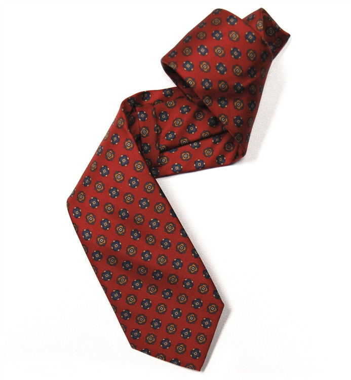 Red, Navy, and Orange Neat Silk Tie by Marchesi di Como