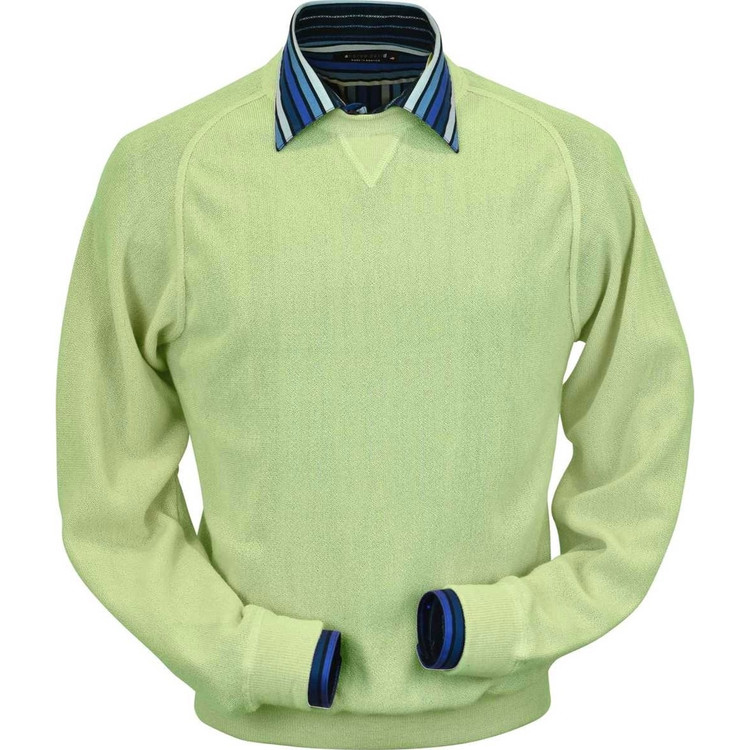 Baby Alpaca Link Stitch Sweatshirt Style Sweater in Lime by Peru Unlimited