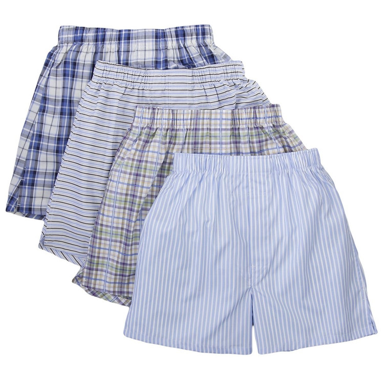 Single Pair Cotton Boxer in Assorted Stripes & Plaids by Robert Talbott