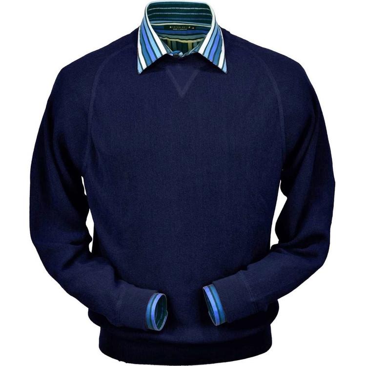 Baby Alpaca Link Stitch Sweatshirt Style Sweater in Navy by Peru Unlimited