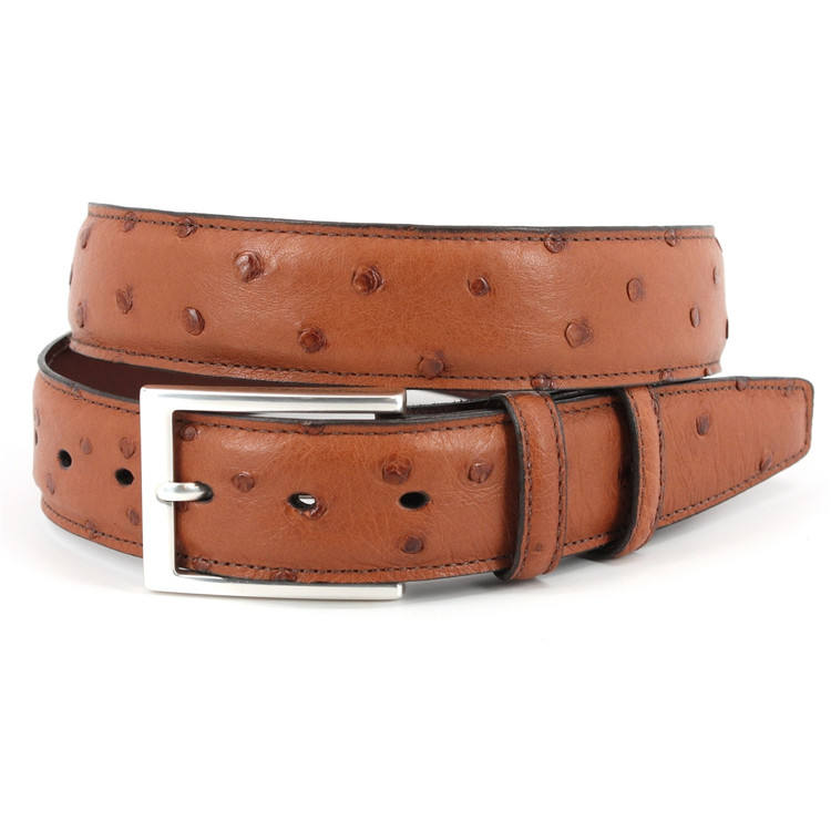 Genuine South African Ostrich Belt in Saddle Tan by Torino Leather Co.
