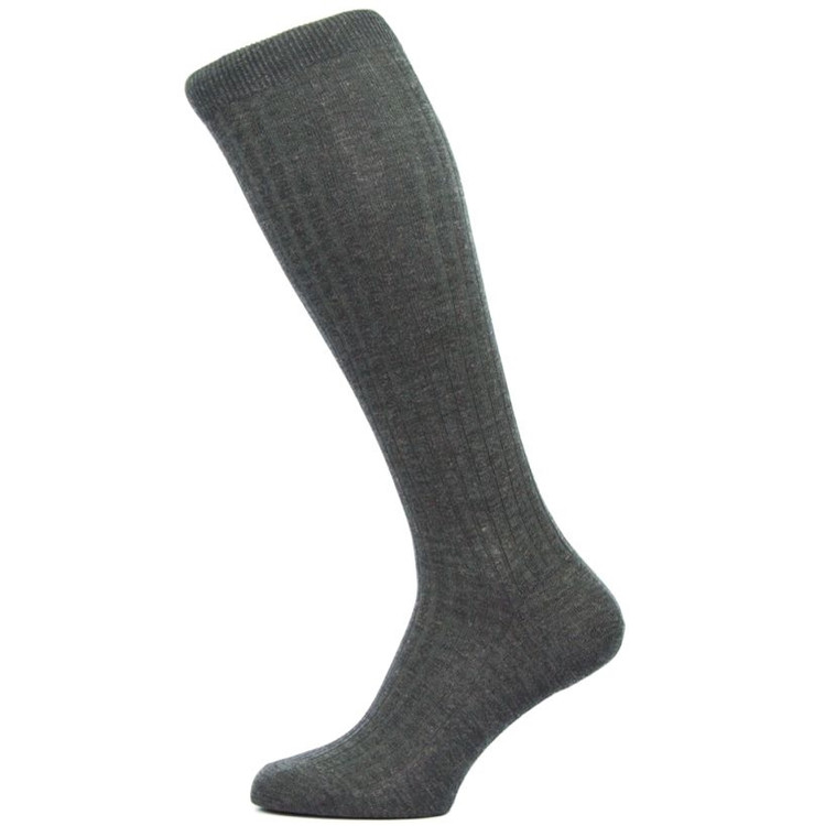 Laburnum - 5x3 Rib Merino Wool Over-the-Calf Sock in Charcoal (3 Pair) by Pantherella
