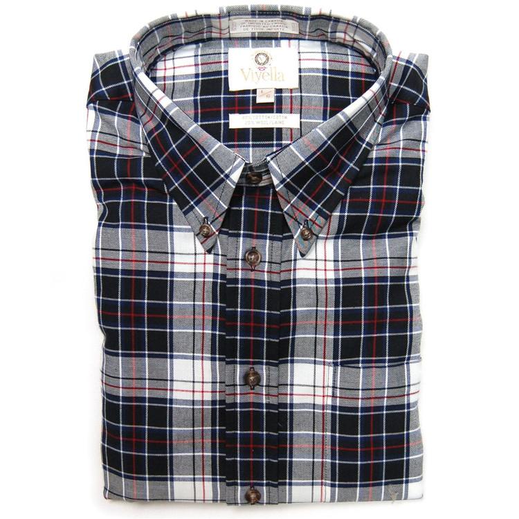 Black, White, Navy and Red Plaid Button-Down Shirt (Size Medium) by Viyella