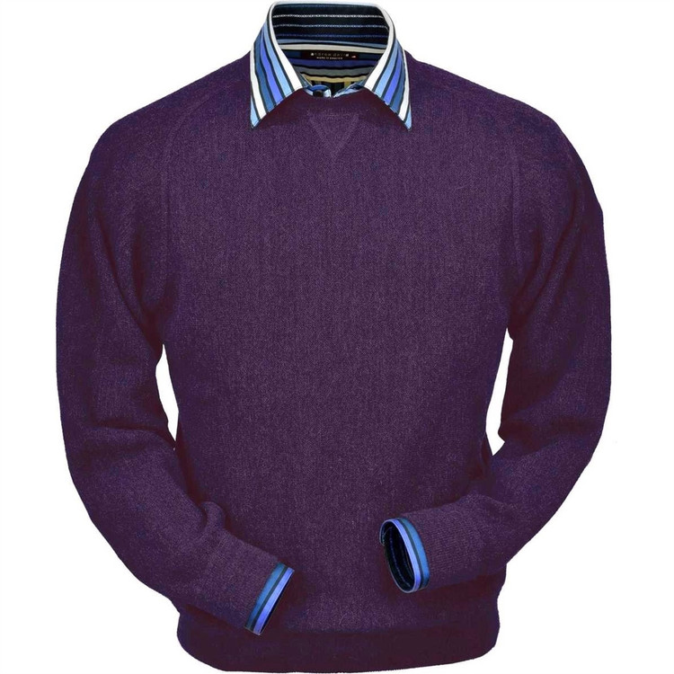 Baby Alpaca Link Stitch Sweatshirt Style Sweater in Plum Heather by Peru Unlimited