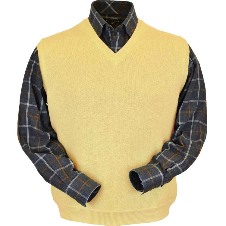 Baby Alpaca Link Stitch Sweater Vest in Yellow by Peru Unlimited