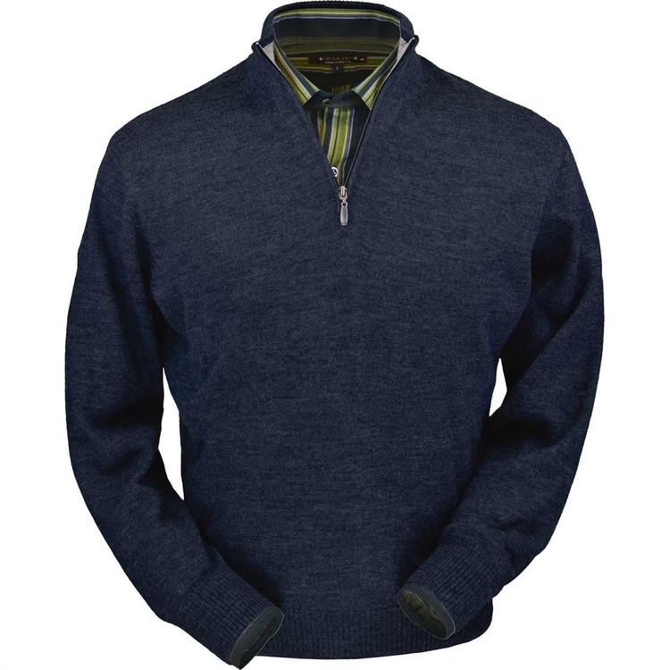 Royal Alpaca Half-Zip Sweater in Midnight Heather by Peru Unlimited
