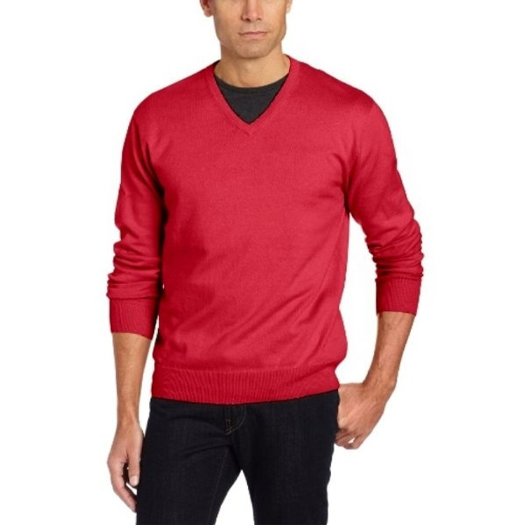 Cotton and Cashmere High V-Neck Sweater in Cherry by Pendleton
