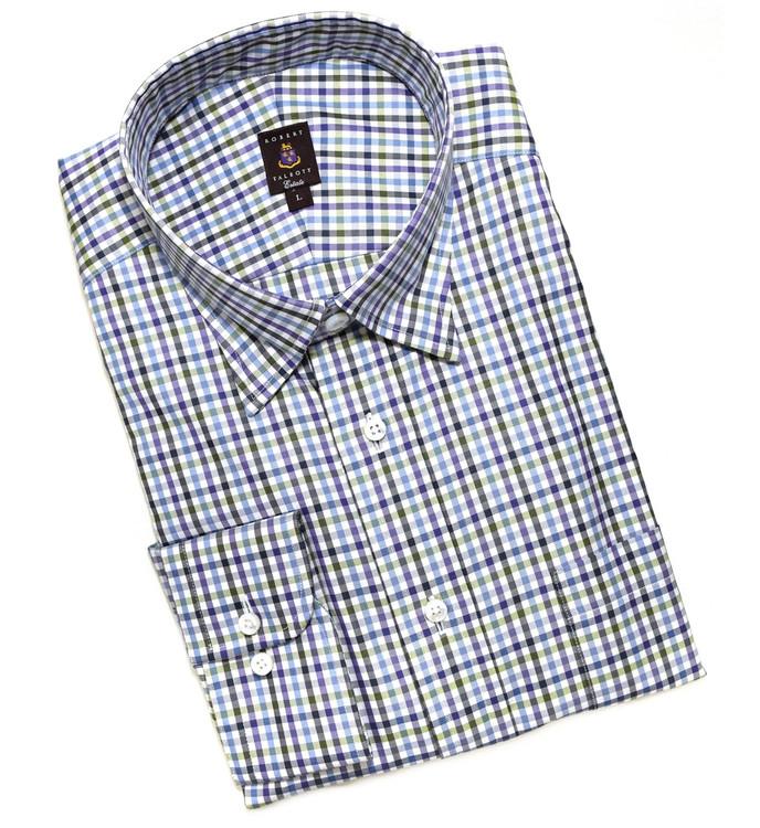 Purple, Green, and Blue Check Estate Sport Shirt by Robert Talbott