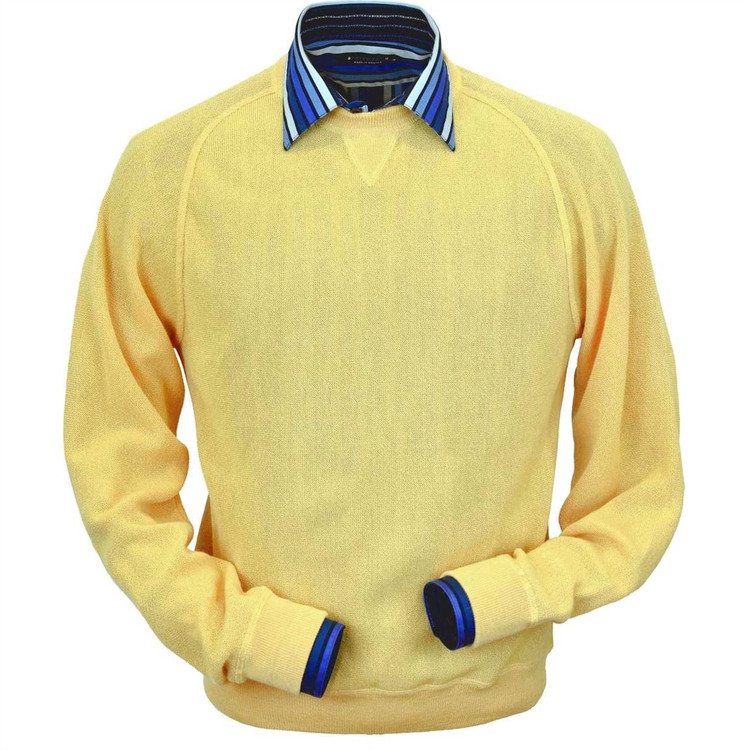 Baby Alpaca Link Stitch Sweatshirt Style Sweater in Yellow by Peru Unlimited