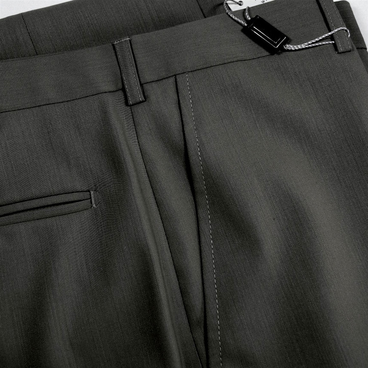 Flat Front Merino Wool Tropical Weight Trouser in Charcoal (Size 48 Only)  by St. Croix