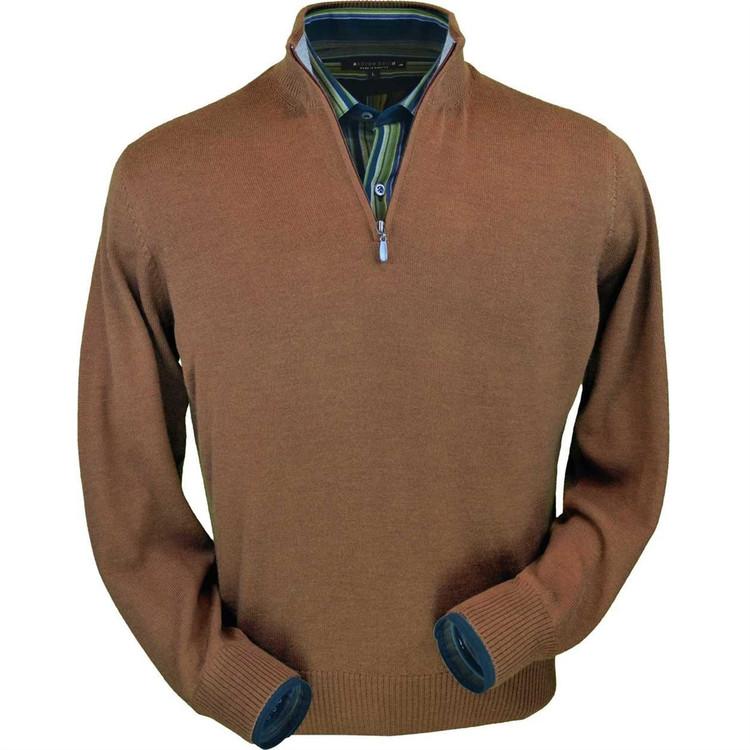 Royal Alpaca Half-Zip Sweater in Vicuna by Peru Unlimited