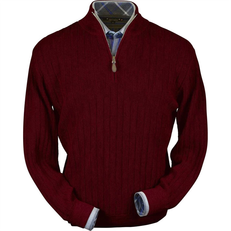 Baby Alpaca Link Stitch Half-Zip Mock Neck Sweater in Wine Heather by Peru Unlimited