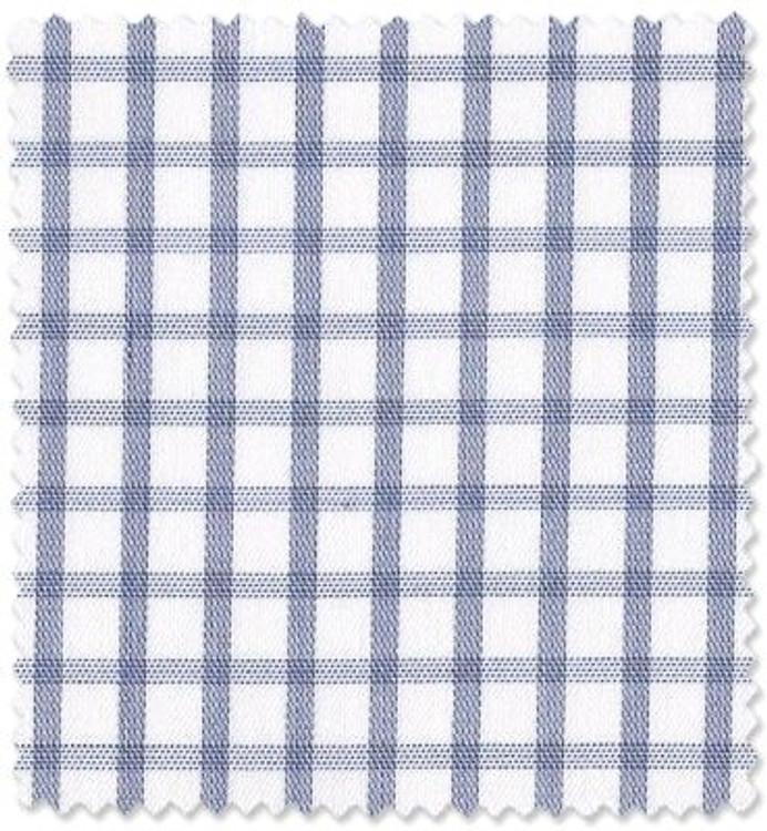Blue Check 'Royal 200's' Cotton Twill Custom Dress Shirt by Skip Gambert
