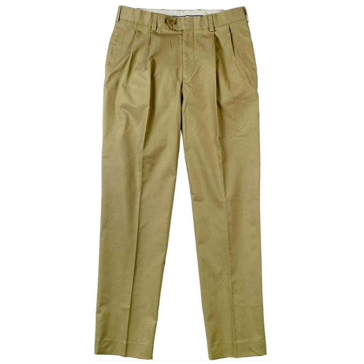 Travel Twill Pant - Model M2P Standard Fit Reverse Pleat in Dark Khaki by Bills Khakis