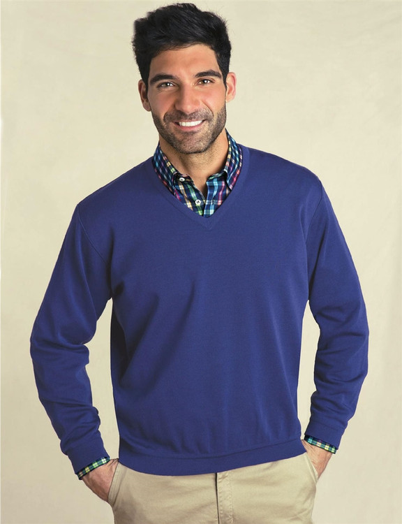Classic Wool V-Neck Sweater in Light Navy by St. Croix