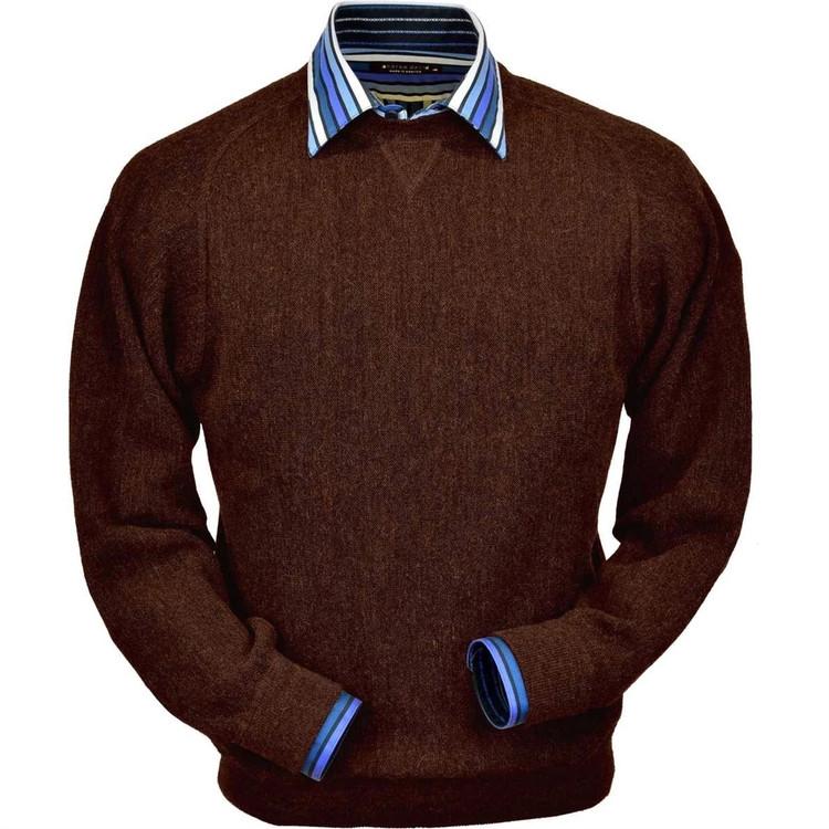 Baby Alpaca Link Stitch Sweatshirt Style Sweater in Bark Heather by Peru Unlimited