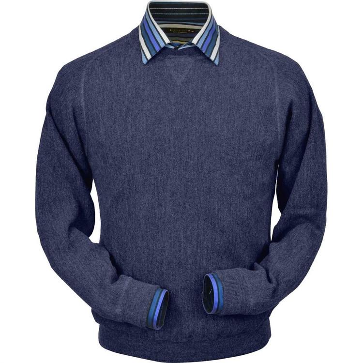 Baby Alpaca Link Stitch Sweatshirt Style Sweater in Denim Heather by Peru Unlimited