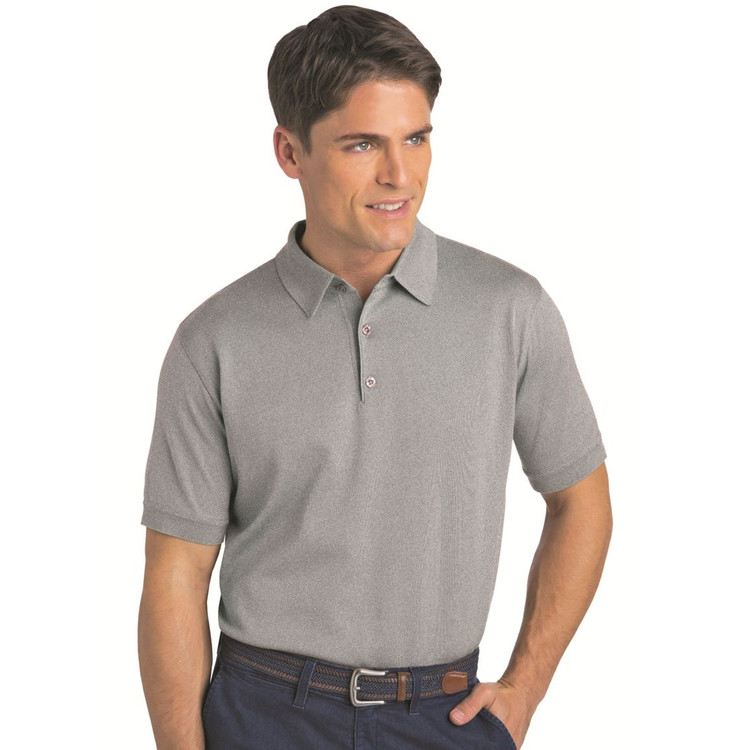 Techno-Cotton Light Weight Short Sleeve Polo in Silver Marl (Size XXX-Large) by St. Croix