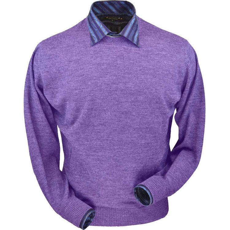 Royal Alpaca Crew Neck Sweater in Lilac Heather by Peru Unlimited