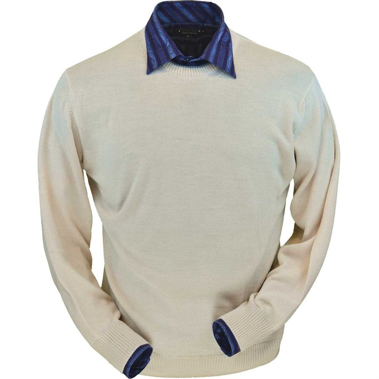 Royal Alpaca Crew Neck Sweater in Natural by Peru Unlimited