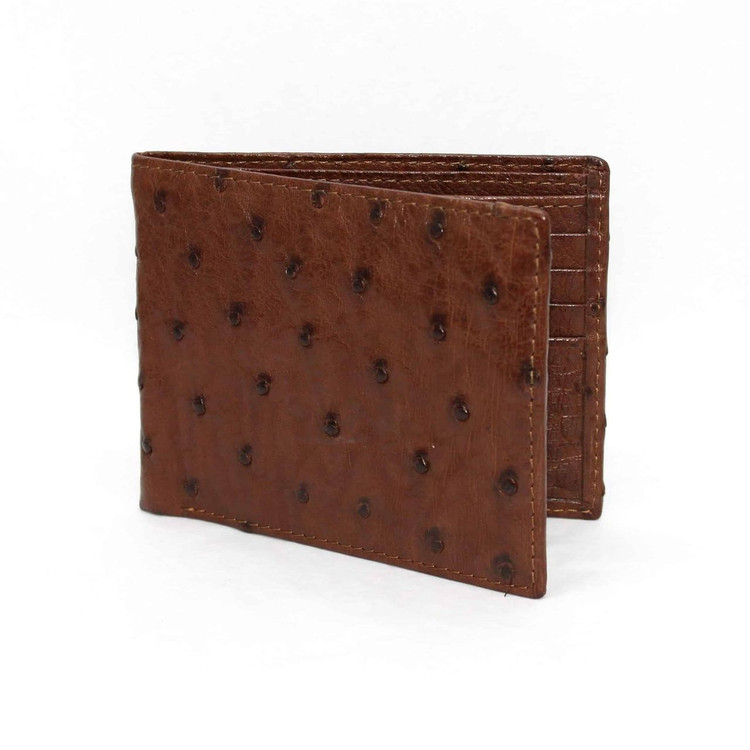 Genuine Ostrich Billfold Wallet in Brown by Torino Leather Co.