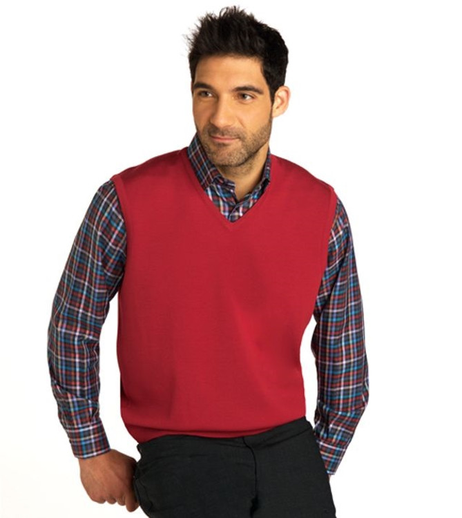 Classic Merino Wool Pullover Vest in Red by St. Croix