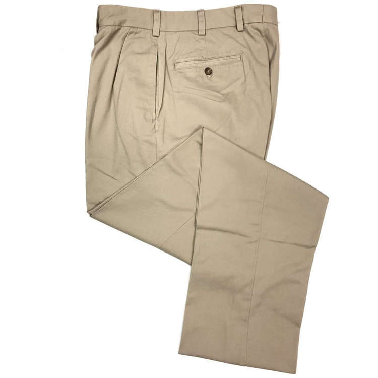 Vintage Twill Pant - Model F1P Relaxed Fit Forward Pleat in Khaki by Hansen's Khakis