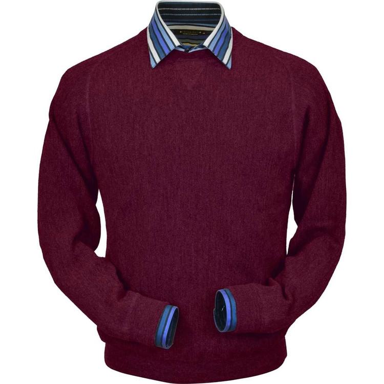 Baby Alpaca Link Stitch Sweatshirt Style Sweater in Raspberry by Peru Unlimited
