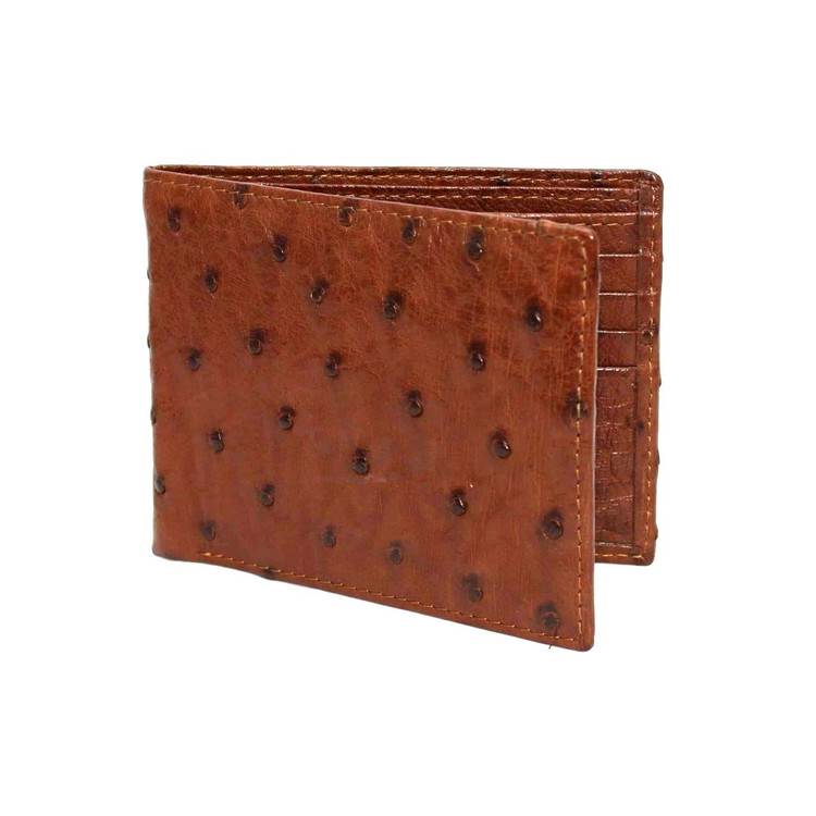 Genuine Ostrich Billfold Wallet in Saddle by Torino Leather Co.
