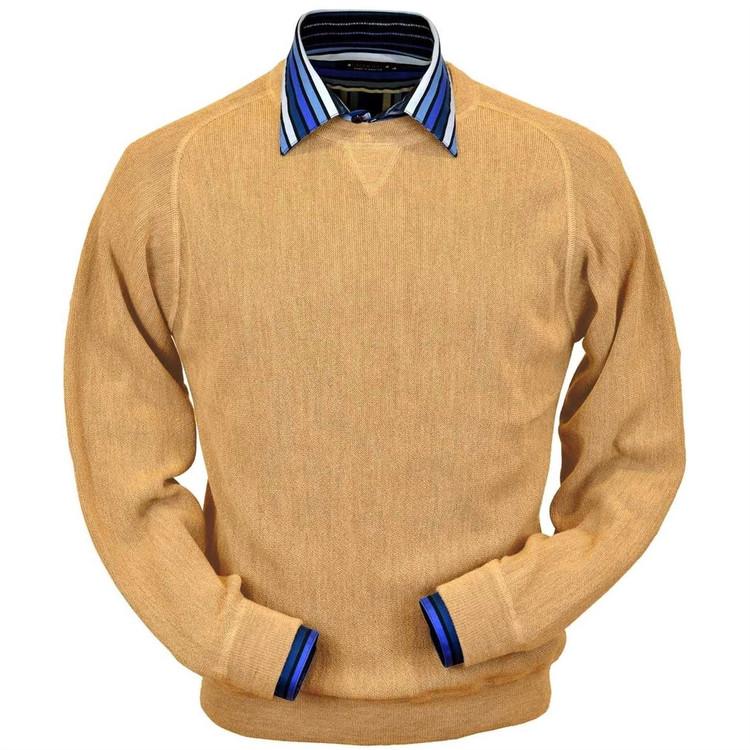 Baby Alpaca Link Stitch Sweatshirt Style Sweater in Melon Heather by Peru Unlimited