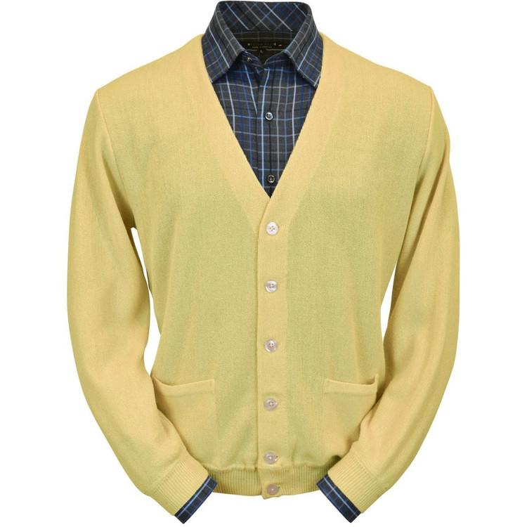 Baby Alpaca Link Stitch Cardigan Sweater in Yellow by Peru Unlimited