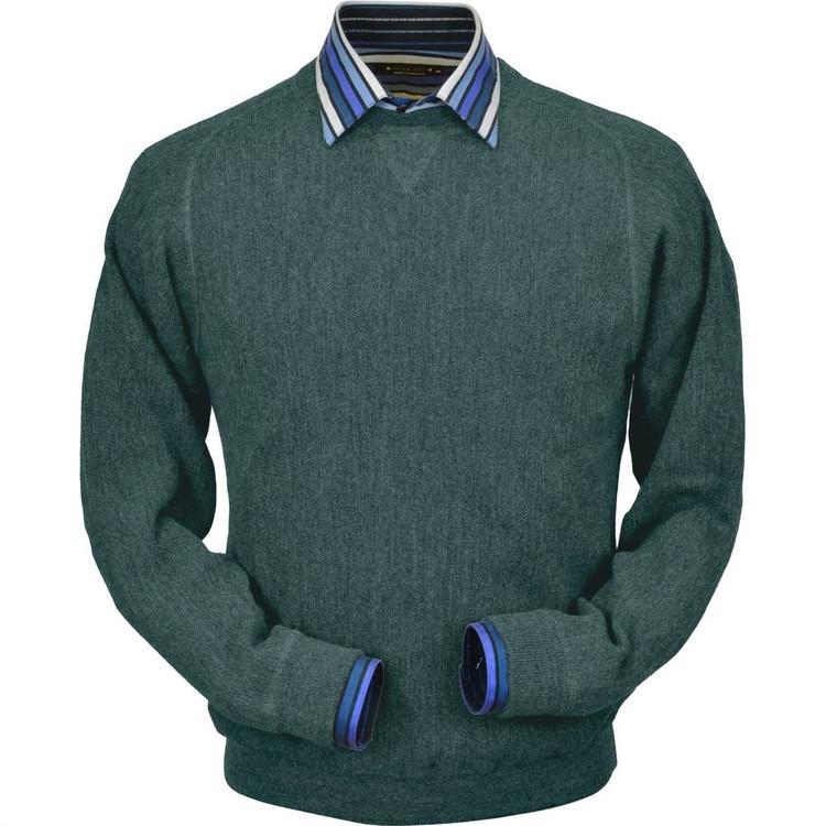 Baby Alpaca Link Stitch Sweatshirt Style Sweater in Bluegrass Heather by Peru Unlimited