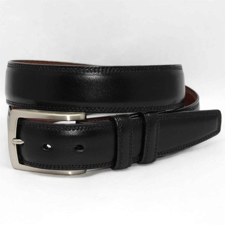 Italian Burnished Kipskin Belt in Black by Torino Leather Co.