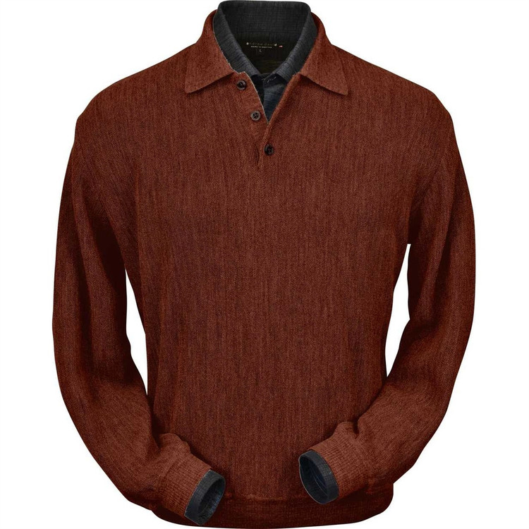 Baby Alpaca Link Stitch Polo Sweater with Ribbed Bottom in Rust Heather by Peru Unlimited