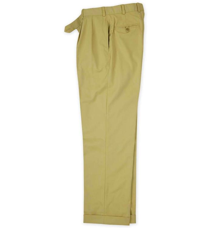 Cotton Gabardine Pant - Model M2P Standard Fit Reverse Pleat in Barley (Size 34) by Bills Khakis