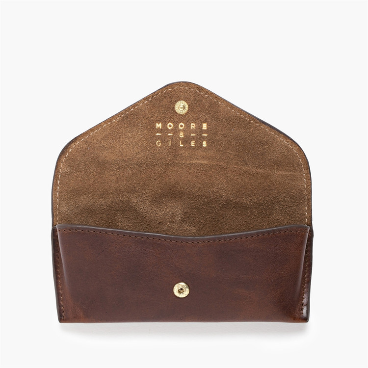 Eyeglass Case in Titan Milled Brown with Brown Suede Interior by Moore & Giles