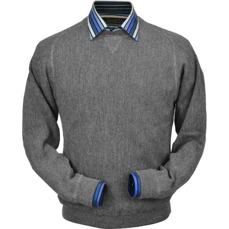 Baby Alpaca Link Stitch Sweatshirt Style Sweater in Sky Grey Heather by Peru Unlimited