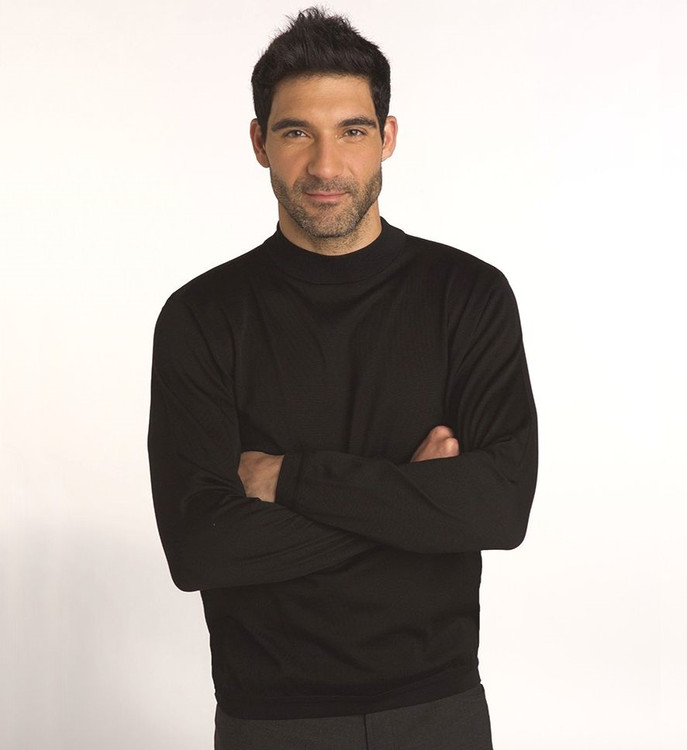 Techno-Cotton Mock Turtleneck in Black by St. Croix