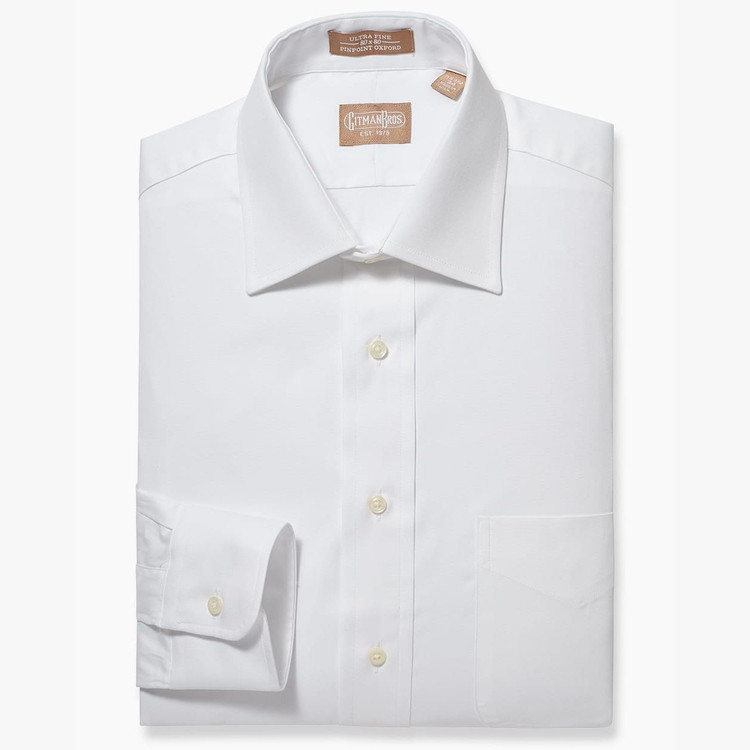 Pinpoint Dress Shirt with Medium Spread Collar in White by Gitman Brothers