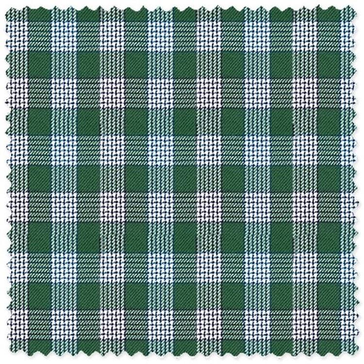 Green, Brown, and Blue Plaid 'Canclini 120's' Cotton Broadcloth Custom Dress Shirt by Skip Gambert