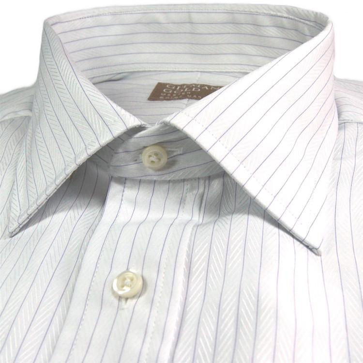 'Gitman Gold' White and Lavender Herringbone Stripe Dress Shirt by Gitman Brothers