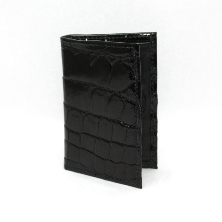 Genuine Alligator Gusseted Card Case in Black  by Torino Leather Co.