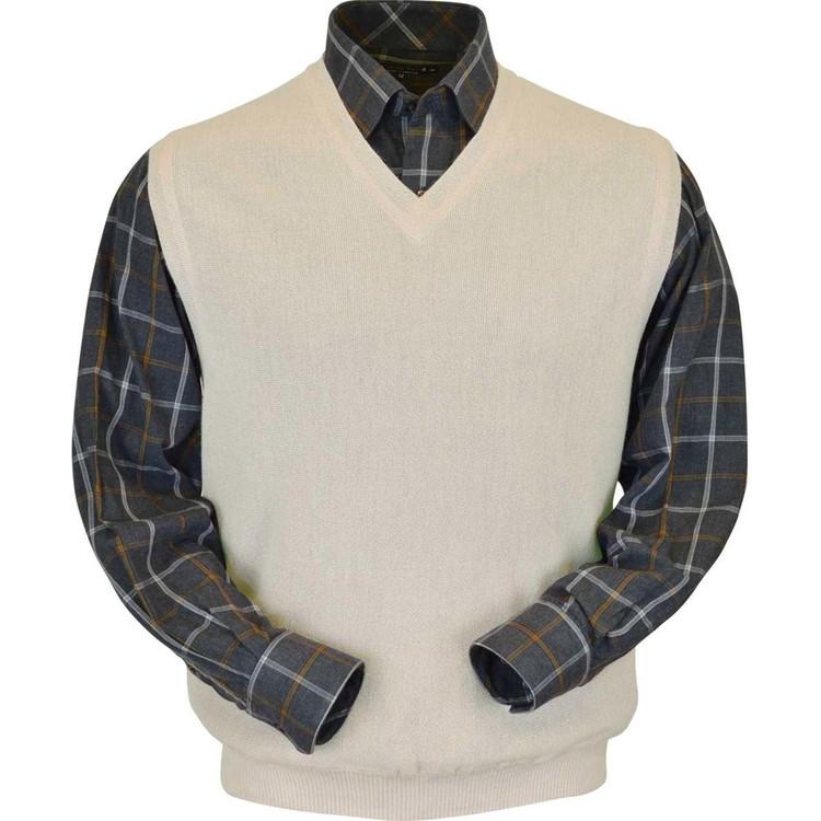 Baby Alpaca Link Stitch Sweater Vest in Natural Vanilla by Peru Unlimited