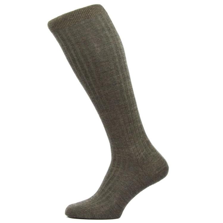 Laburnum - 5x3 Rib Merino Wool Over-the-Calf Sock in Dark Olive Mix (3 Pair) by Pantherella