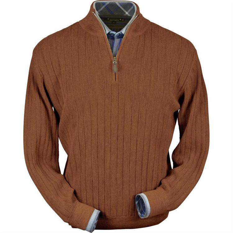 Baby Alpaca Link Stitch Half-Zip Mock Neck Sweater in Light Rust Heather by Peru Unlimited