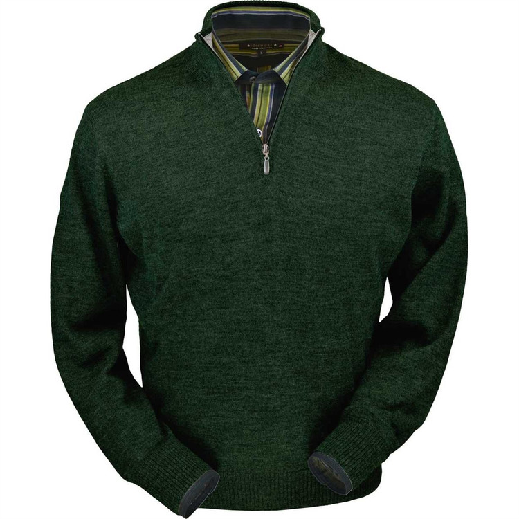 Royal Alpaca Half-Zip Sweater in Hunter Green Heather by Peru Unlimited
