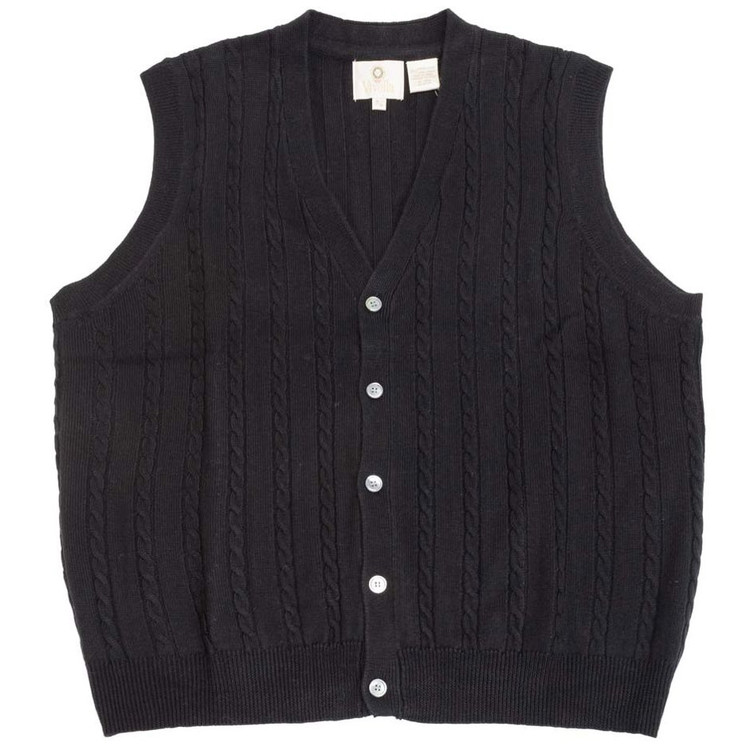 merino wool cable knit vneck sweater vest in mouline